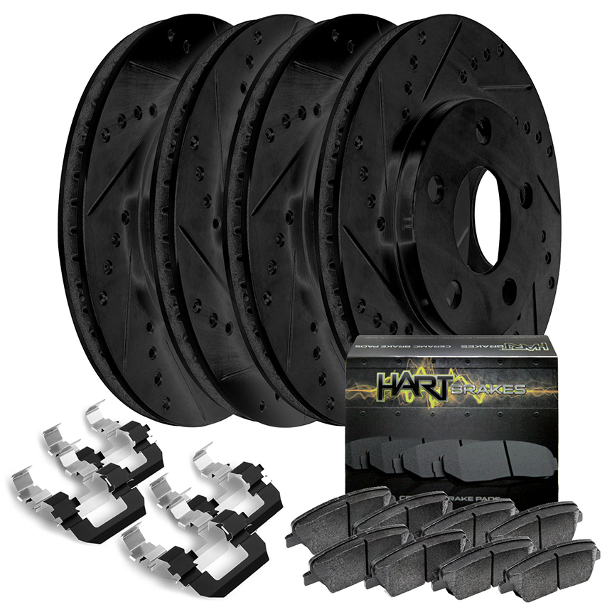 Full Kit Black Hart Drilled Slotted Brake Rotors and Brake Pads BHCC.61116.02
