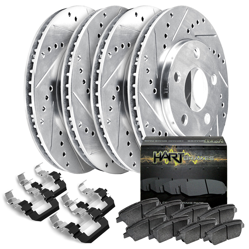 Fit Volkswagen GTI Front Rear Black Drill Slot Brake Rotors+Ceramic Brake Pads