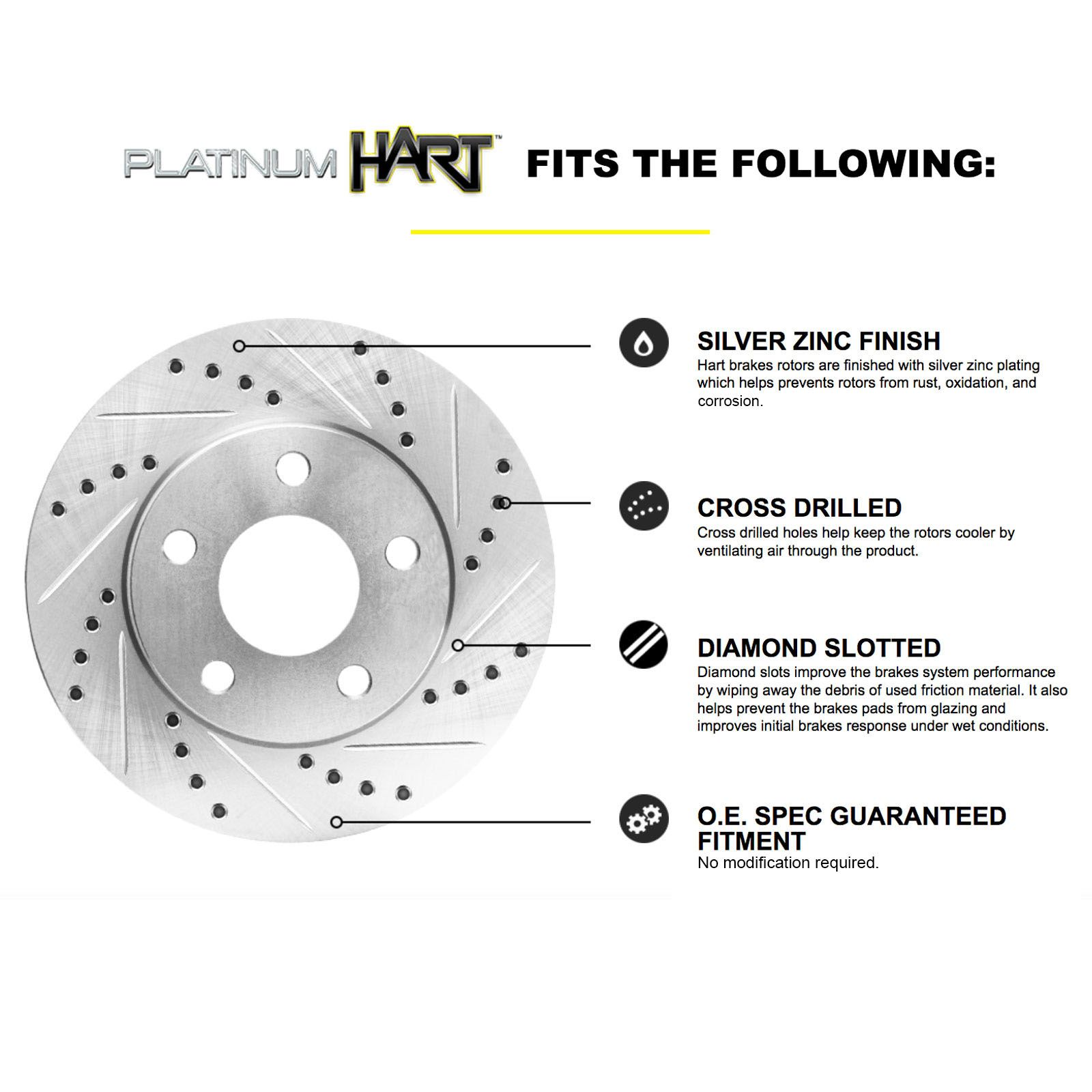 Front Brake Discs Rotors And Ceramic Pads Fits 12-14 Crosstour CR-V Drill /& Slot