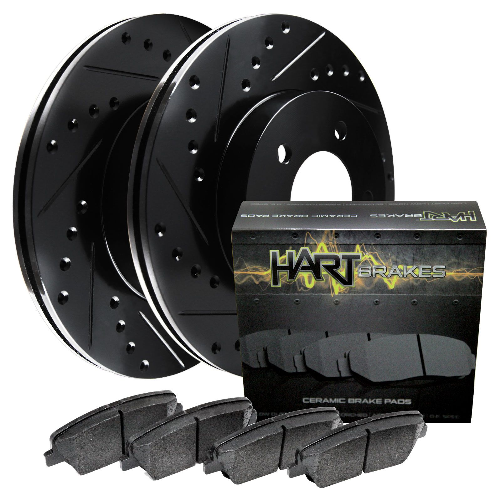 For 2003-2004 Subaru Impreza Rear Black Drill Slot Brake Rotors+Ceramic Pads