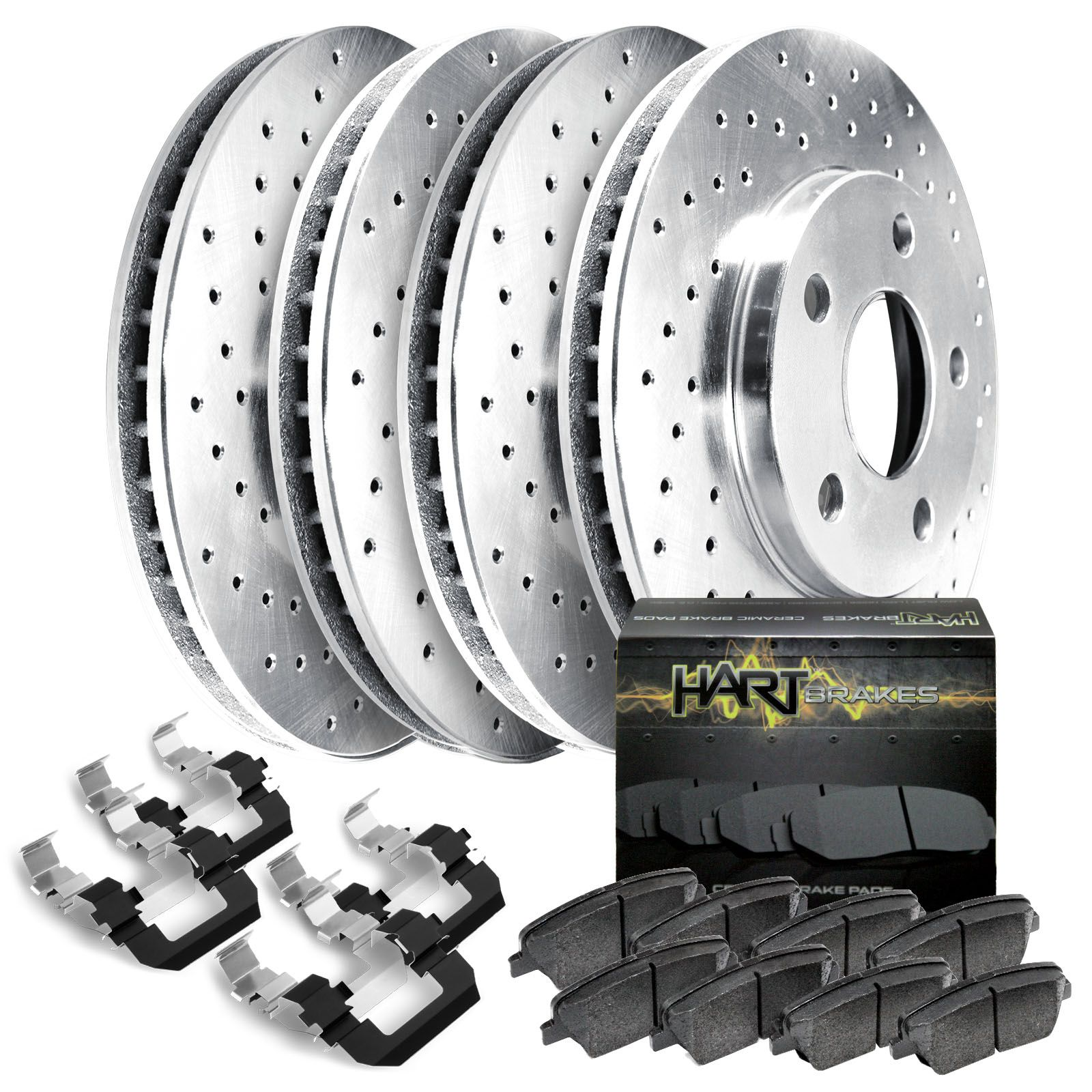 For Audi A6 Quattro Front Rear Black Slotted Brake Rotors+Ceramic Brake Pads