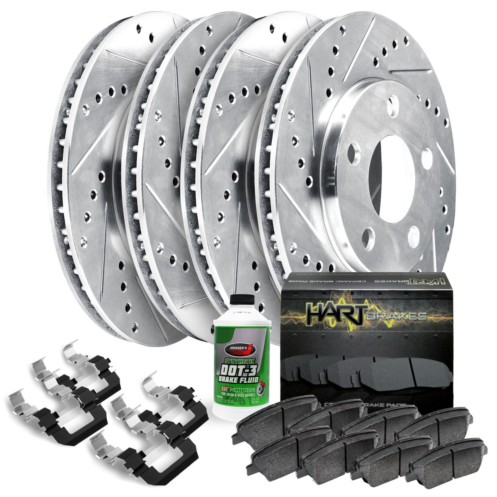 Sonata Front Black Drill Slot Brake Rotors+Ceramic Pads For Hyundai Tiburon