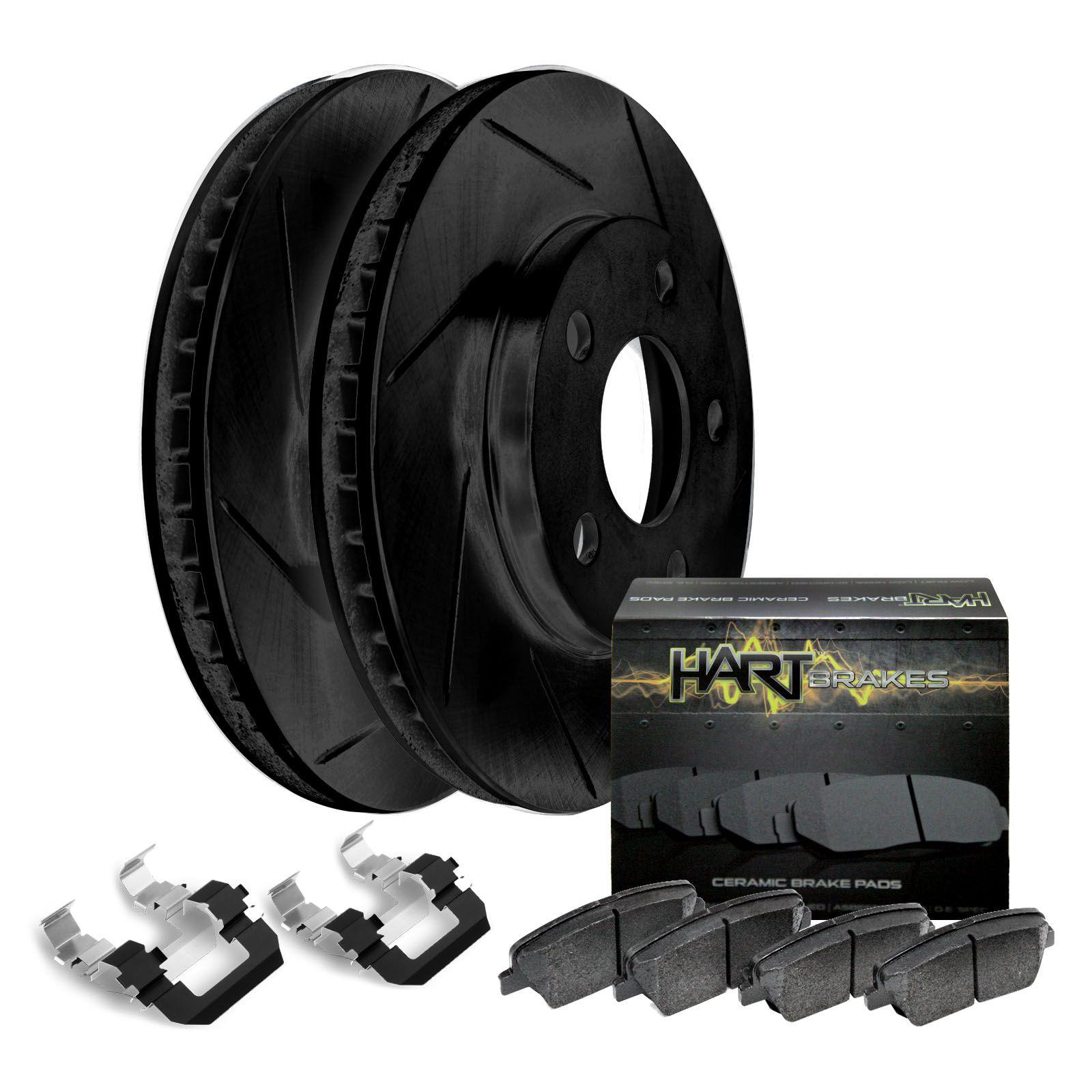 For 2006-2015 Mazda 5 Rear Black Drill Slot Brake Rotors Ceramic Brake Pads